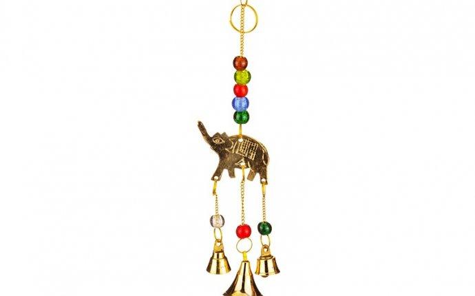 Оберег слон с колокольчиками латунь длина=20 см. Abidsons (882