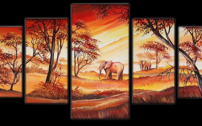 Прогулка слонов; оранжевый, желтый, коричневый | Style-Aksess