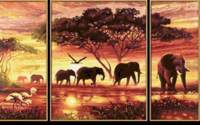 Слоны триптих вышивка - Купить раскраски и картины по номерам на